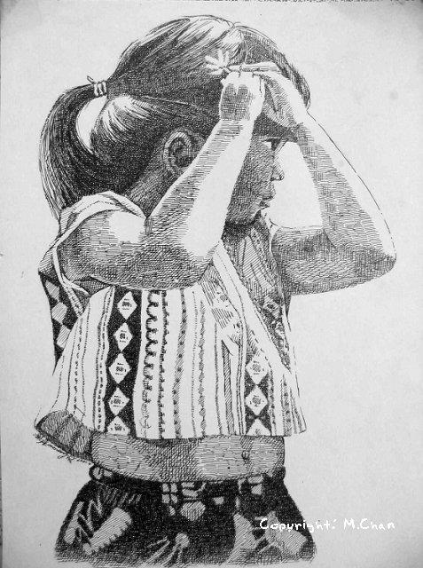 針管筆繪畫《往鬢角戴小花的小女孩》