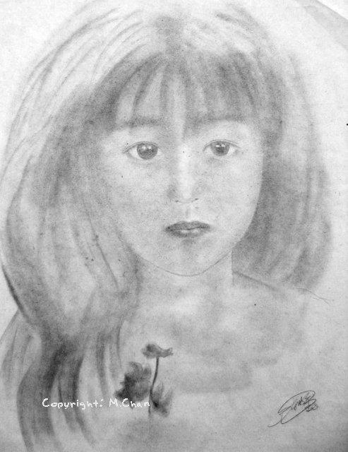 鉛筆粉《蝴蝶蘭·女孩》