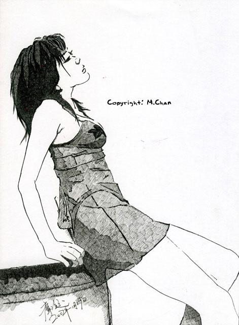 針管筆繪畫《透明裝的女人》