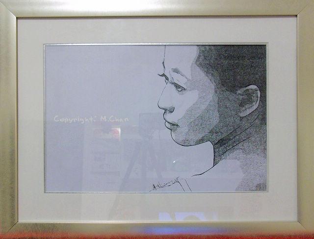 相框里的針管筆繪畫《籃芳#2》