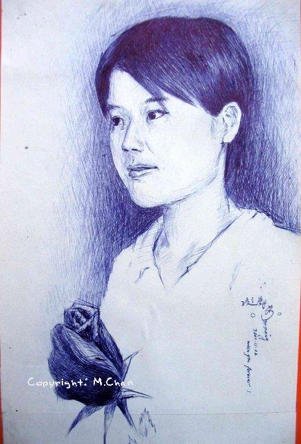 原子筆素描《玫瑰·女孩》